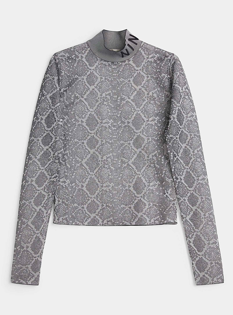 Nina Ricci Patterned Black Ribbed collar snake sweater for women