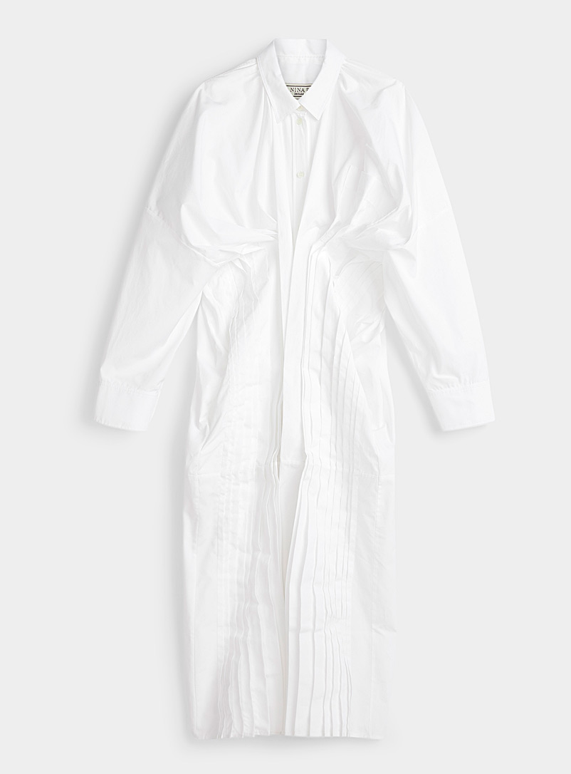 Nina Ricci White Pleated shirtdress for women