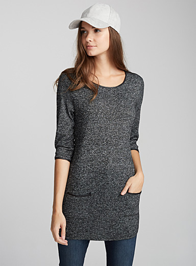 Faux-leather detail heather tunic