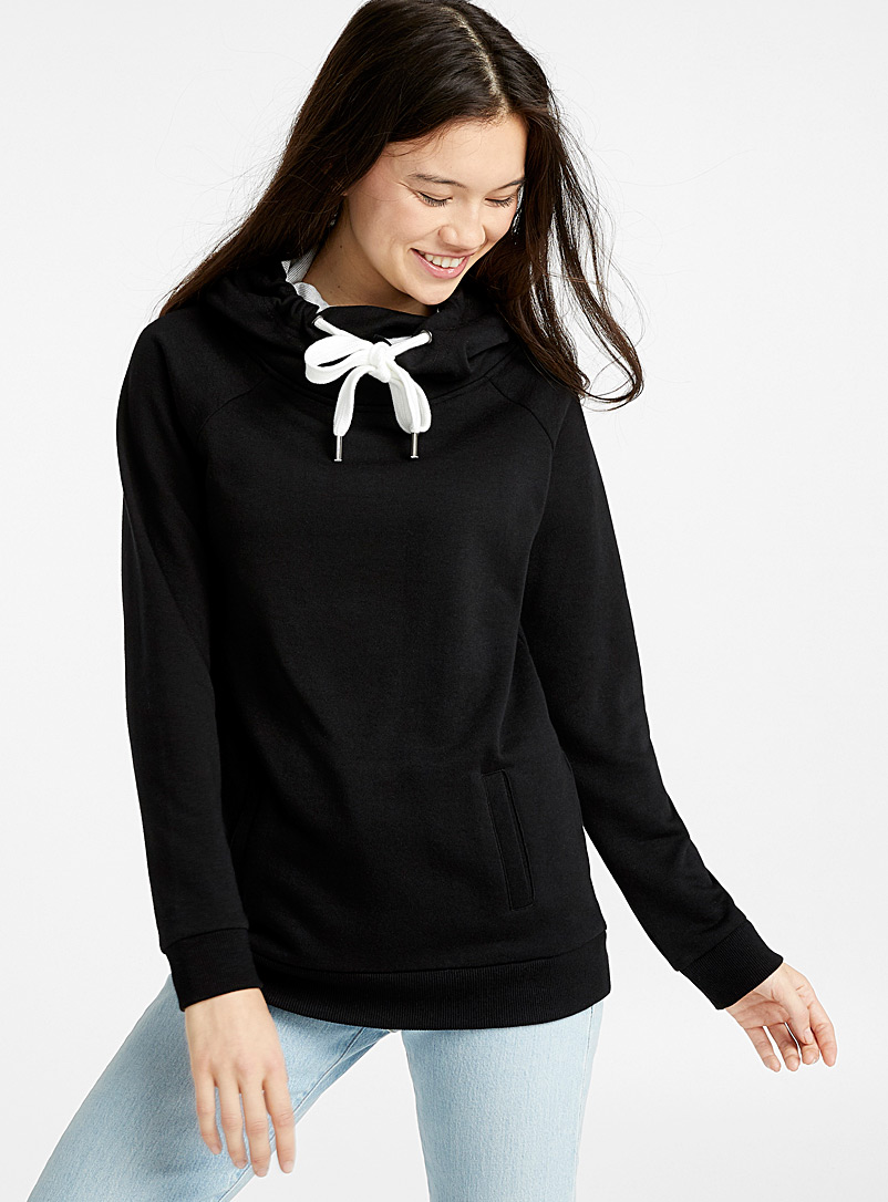 High-neck hoodie - Sweatshirts & Hoodies - Black