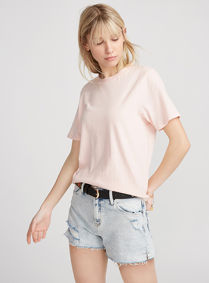 Le tee-shirt col rond ample - Manches courtes - Rose