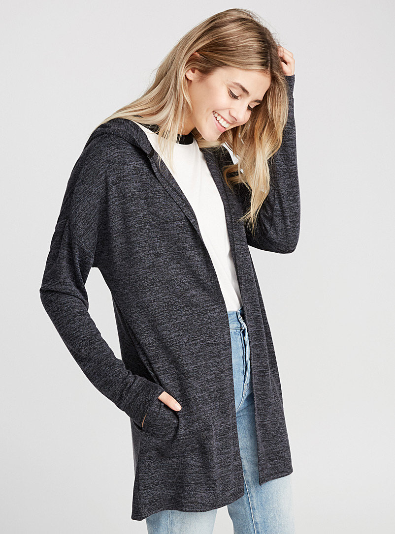 Rayon hooded cardigan - Long Sleeves - Oxford