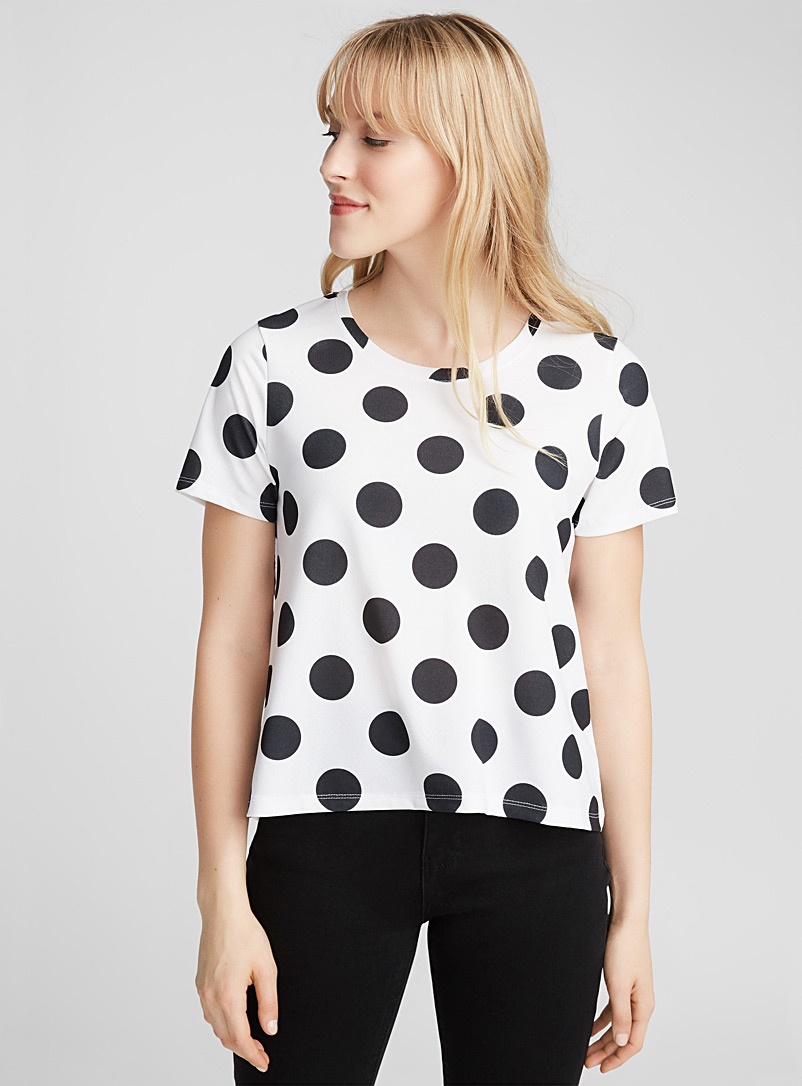 Stretch crepe tee - Short Sleeves & ¾ Sleeves - Black and White