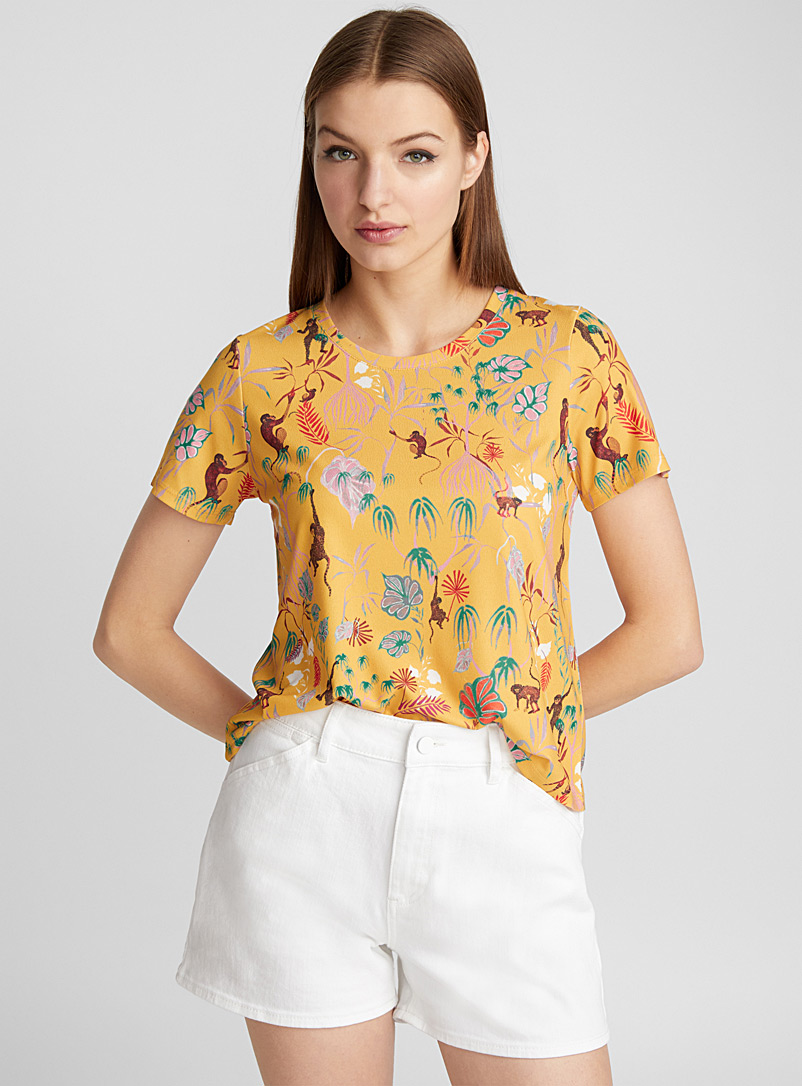 Stretch crepe tee - Short Sleeves & ¾ Sleeves - Golden Yellow