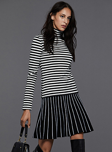 Striped mock-neck tee