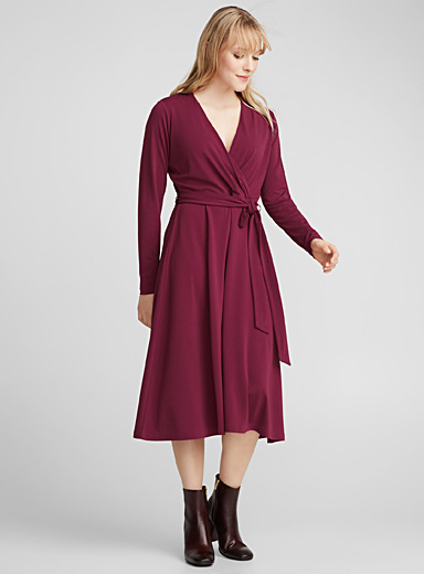 Stretch crepe wrap dress
