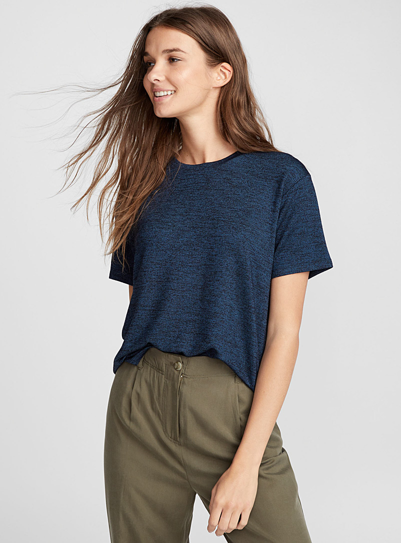 Loose rayon tee - Short Sleeves & ¾ Sleeves - Blue