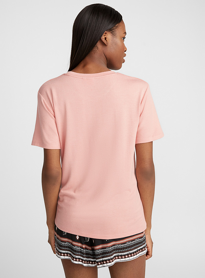 Loose rayon tee - Short Sleeves & ¾ Sleeves - Coral