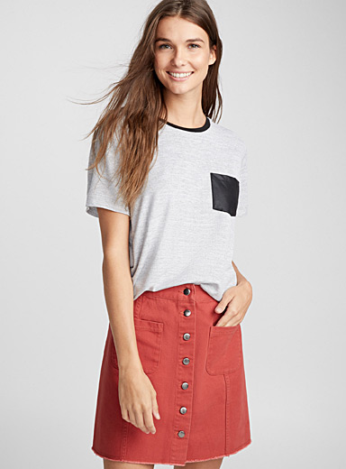 Faux-leather accent tee
