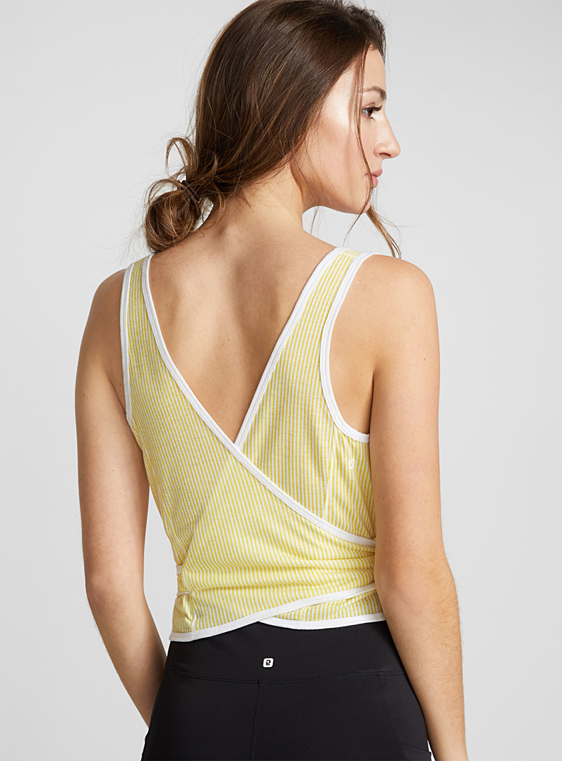 Cropped tie tank - Yoga - Patterned Yellow
