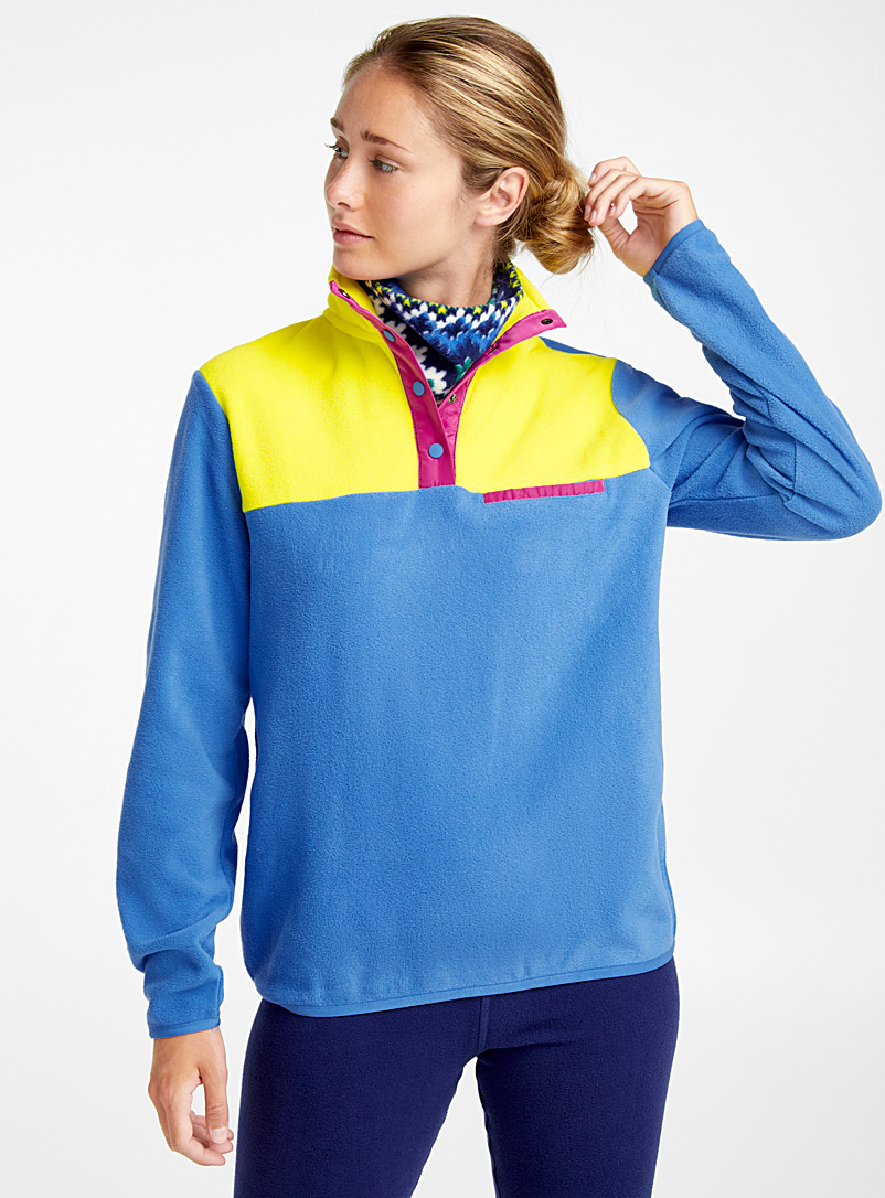 Colour block high-neck fleece - Sweatshirts - Sapphire Blue