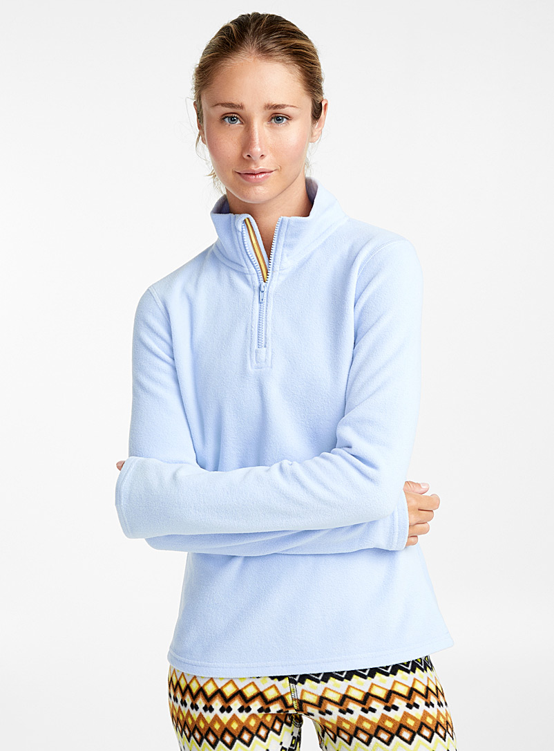 I.FIV5 Baby Blue Recycled fibres zip-neck fleece for women