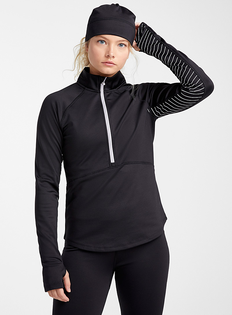 I.FIV5 Black Fleece-lined microfibre half-zip for women