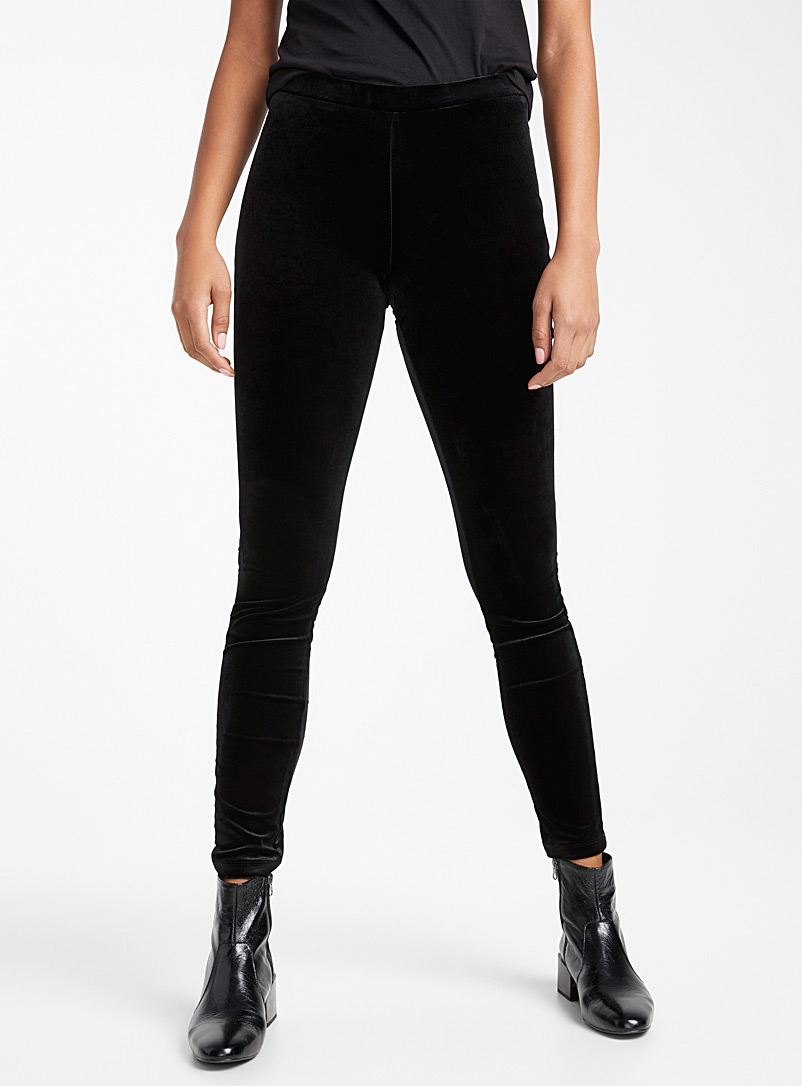 Icône Black Stretch velvet legging for women