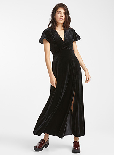 Rich velvet crossover dress