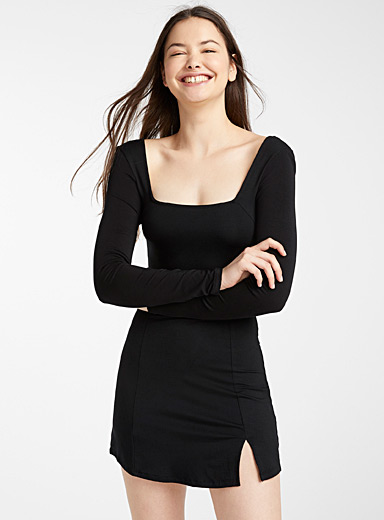 Twik Black TENCEL lyocell square-neck dress for women
