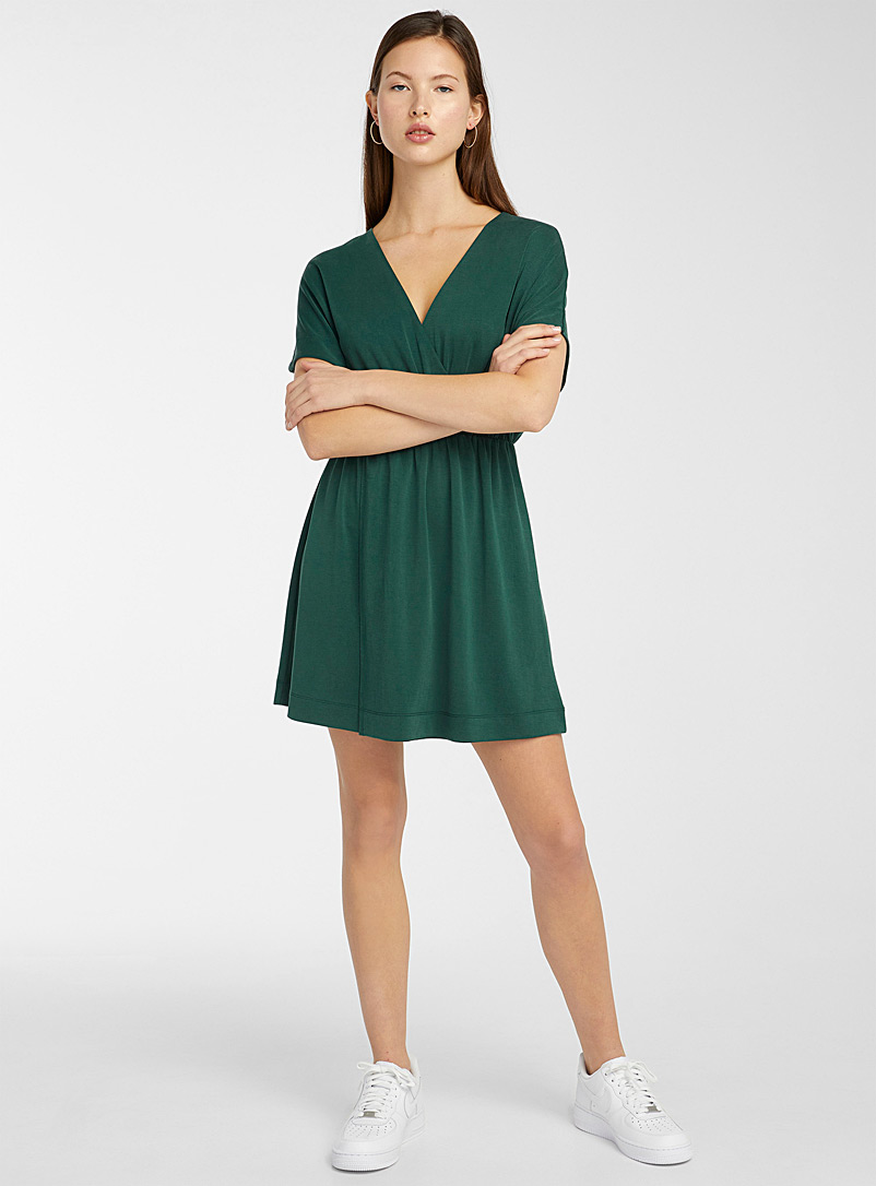 Twik Bottle Green Modal touch crossover dress for women