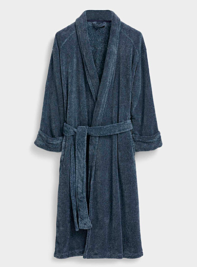 Le 31 Blue Heathered fleece robe for men