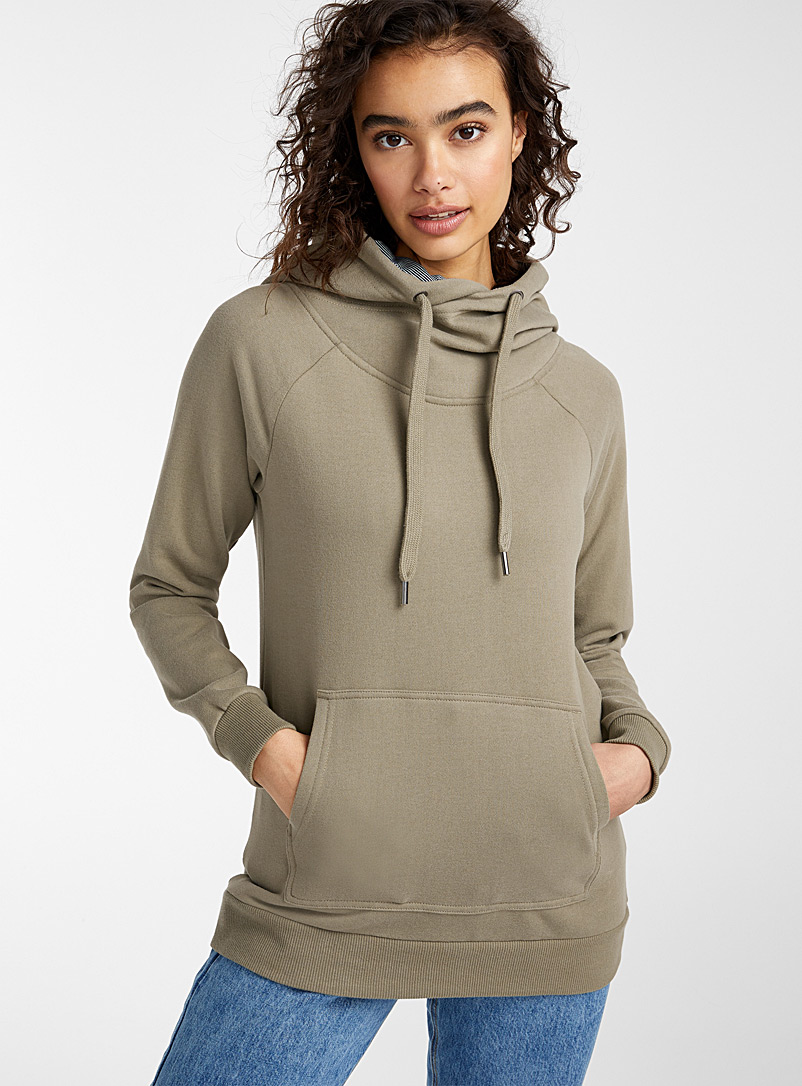 Twik Khaki Organic cotton tunnel collar hoodie for women