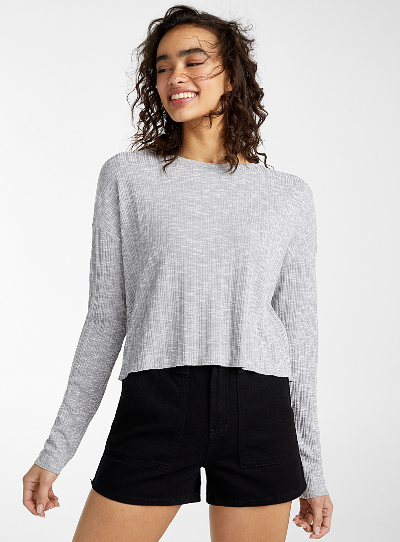 Twik Grey Embossed knit cropped tee for women