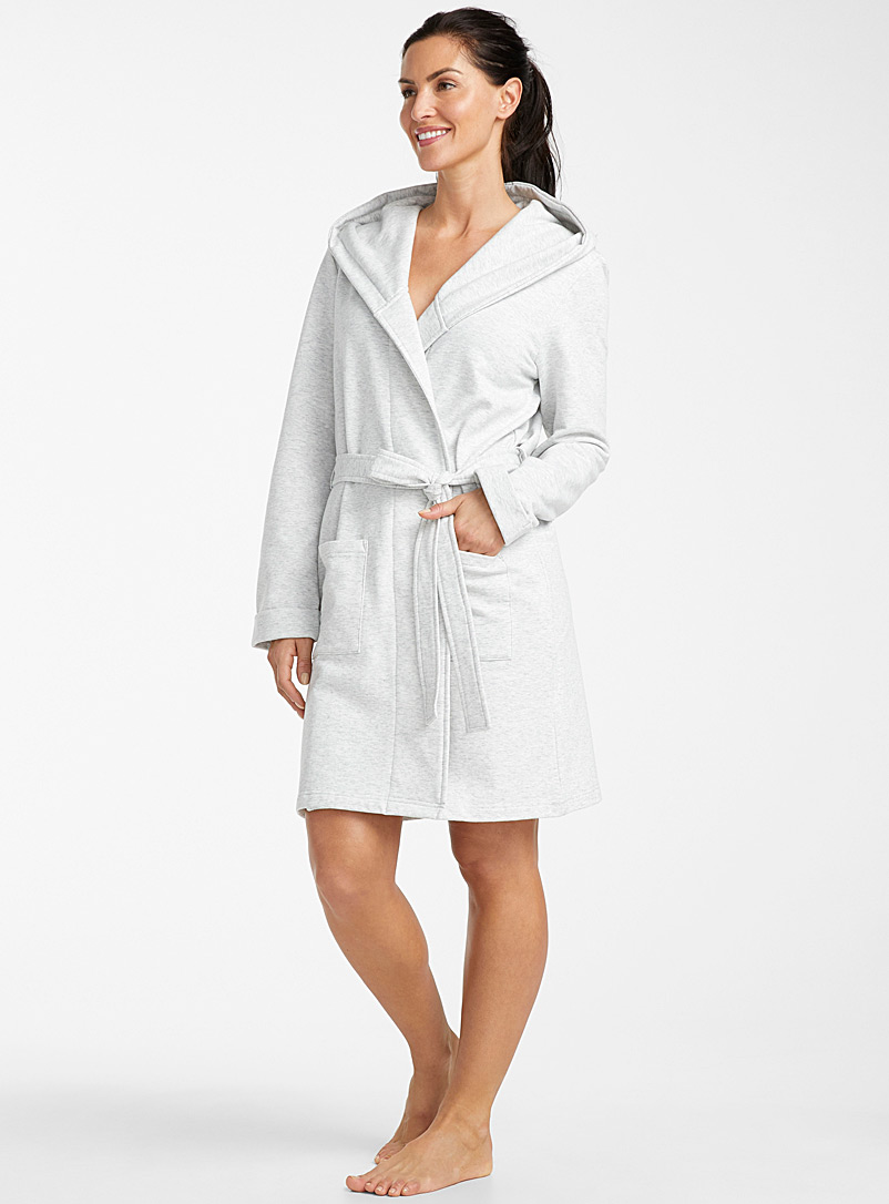 Miiyu Light Grey Lined hooded robe for women