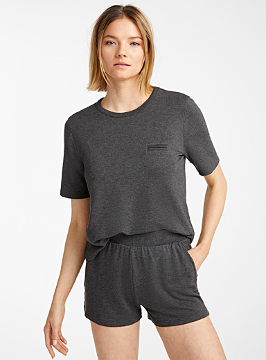 Miiyu Charcoal Terry-lined modal tee for women