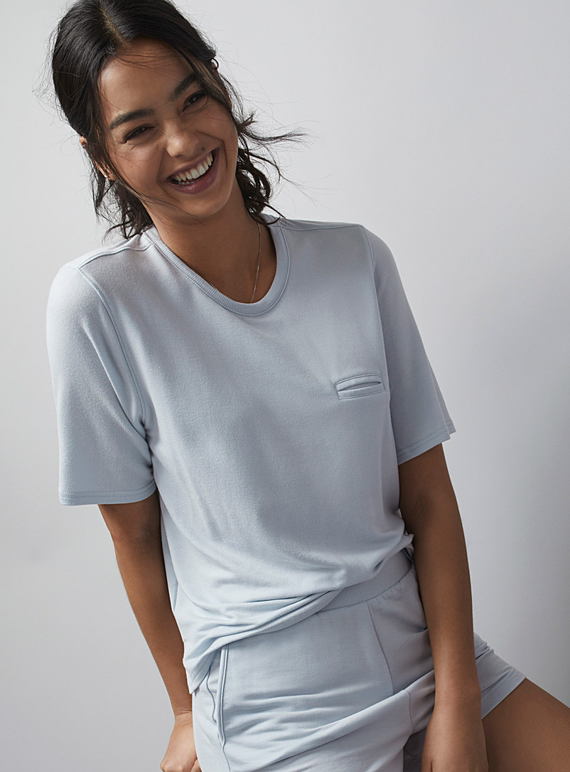 Miiyu Baby Blue Terry-lined modal tee for women
