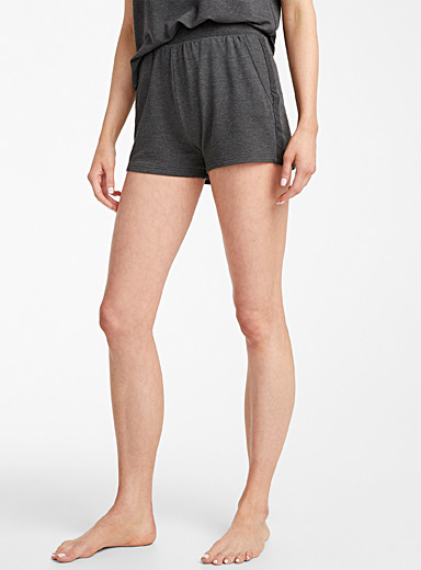 Miiyu Charcoal Terry-lined modal boxer for women
