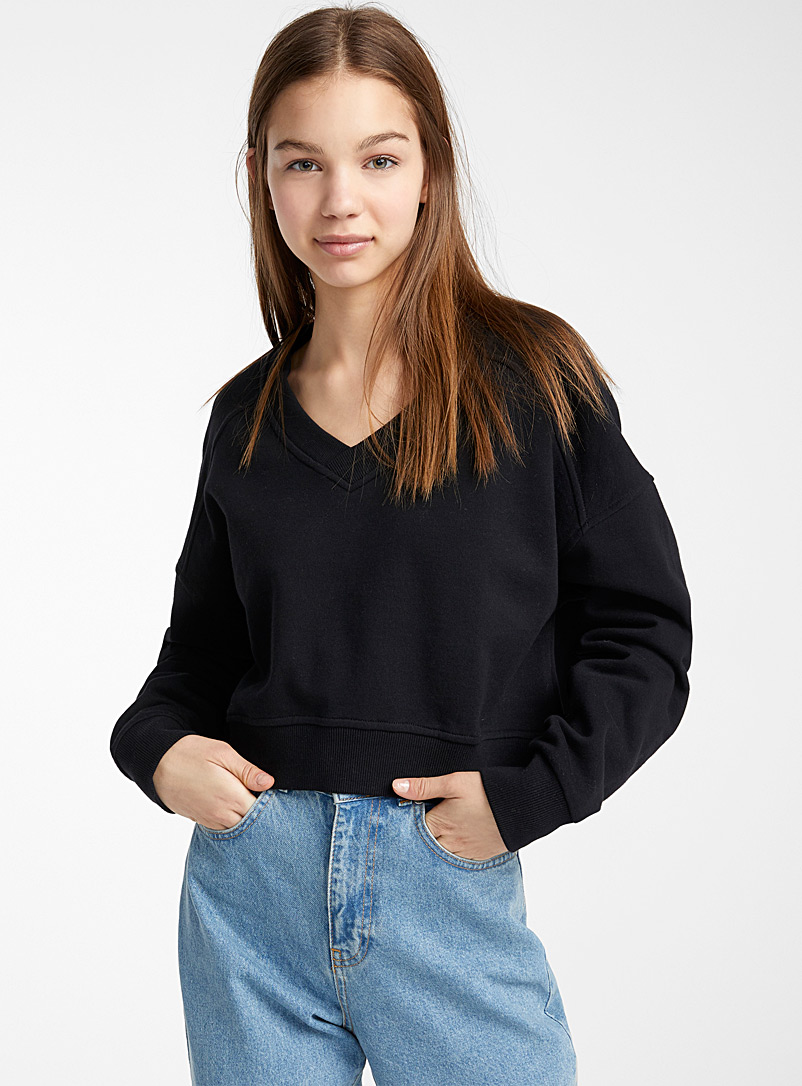 Twik Black Cropped ribbed V-neck sweatshirt for women