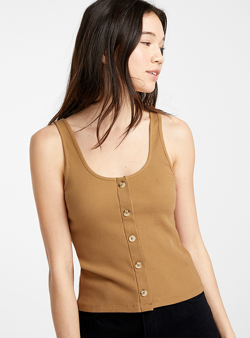 Twik Medium Brown Organic cotton buttoned ribbed cami for women