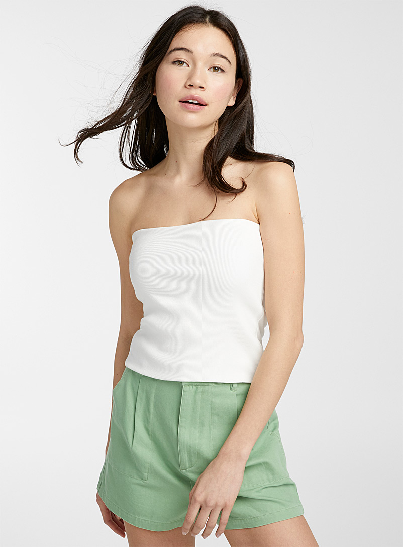 Twik White Organic cotton ribbed tube top for women