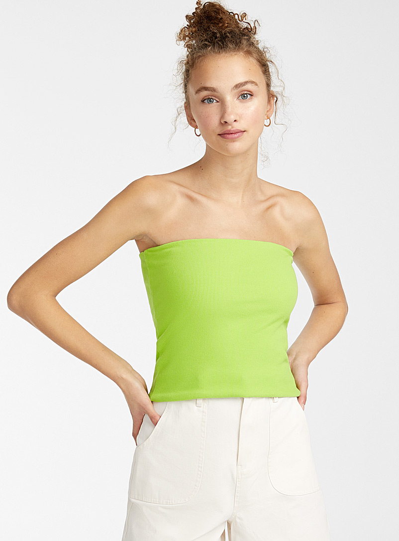 Twik Lime Green Organic cotton ribbed tube top for women