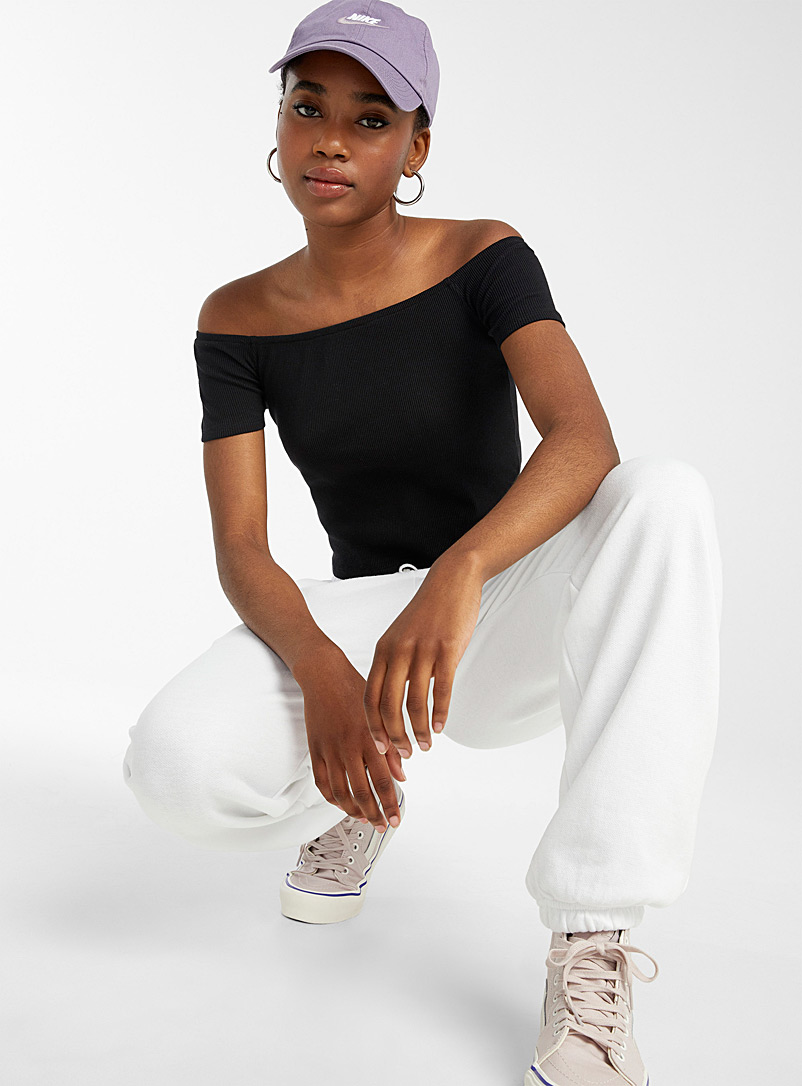 Twik Black Ribbed off-the-shoulder cropped tee for women