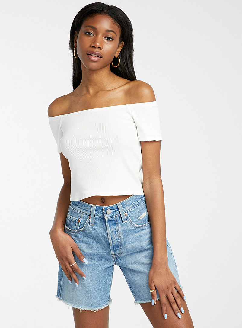 Twik Grey Ribbed off-the-shoulder cropped tee for women