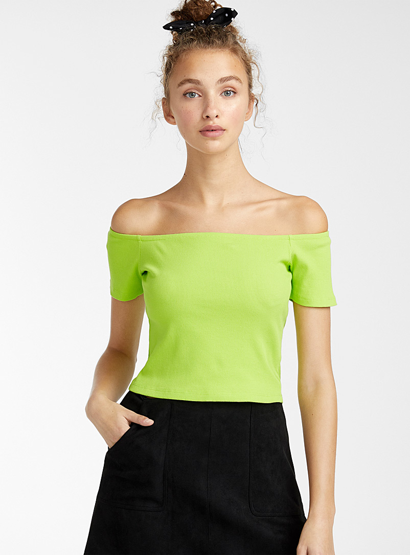 Twik Lime Green Ribbed off-the-shoulder cropped tee for women