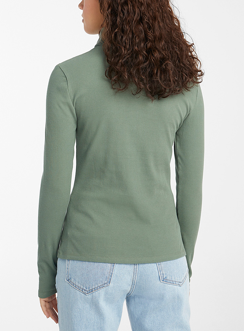 Twik Mossy Green Organic cotton ribbed turtleneck tee for women
