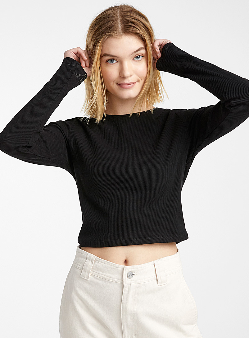 Twik Black Cropped organic cotton ribbed tee for women