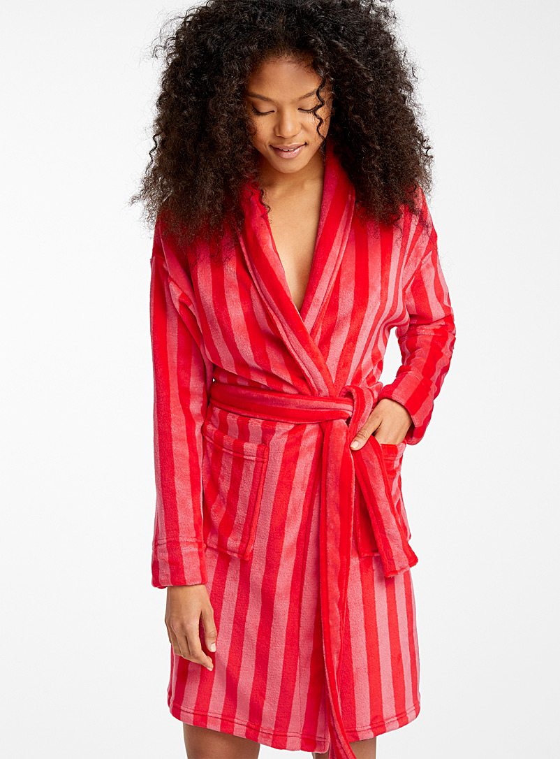 Miiyu x Twik Patterned Red Colourful dreams plush robe for women