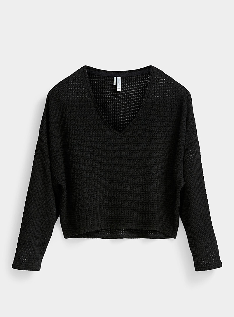 Miiyu x Twik Black Waffled knit lounge sweater for women