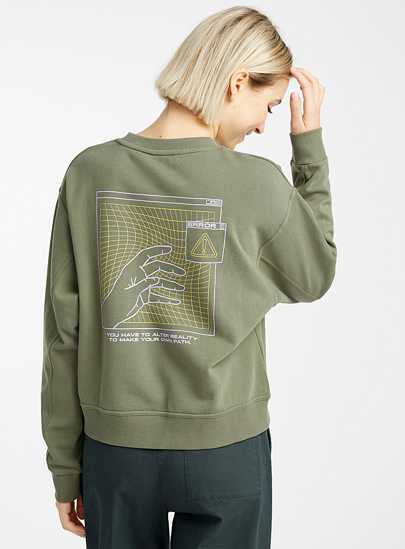 Twik Khaki Organic cotton graphic print sweatshirt for women