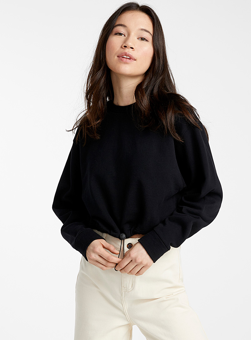 Twik Black Organic cotton barrel-toggle sweatshirt for women