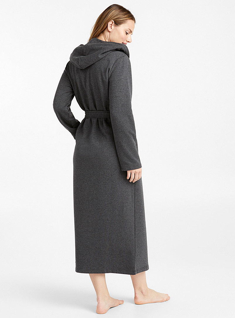 Long heather robe - Bathrobes - Charcoal