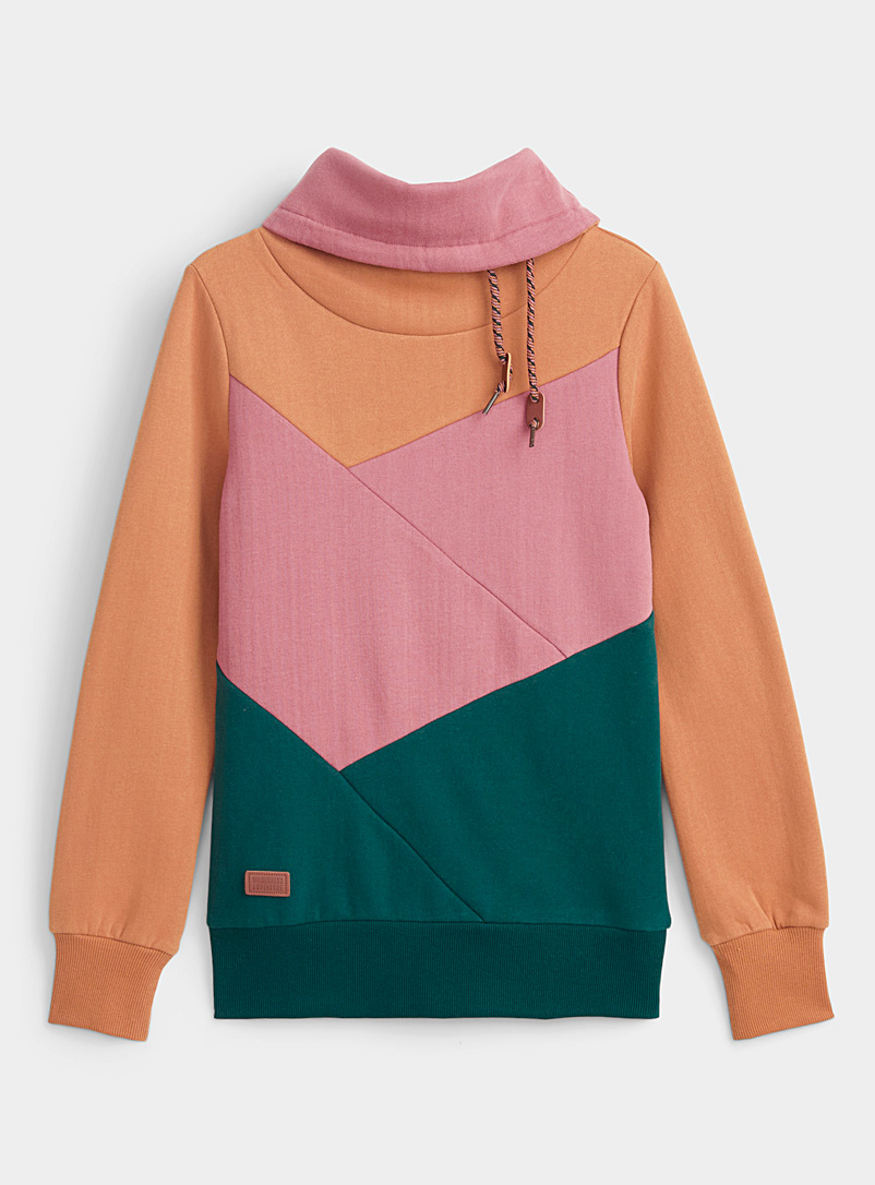 Twik Patterned Green Colour block tunnel-neck sweatshirt for women