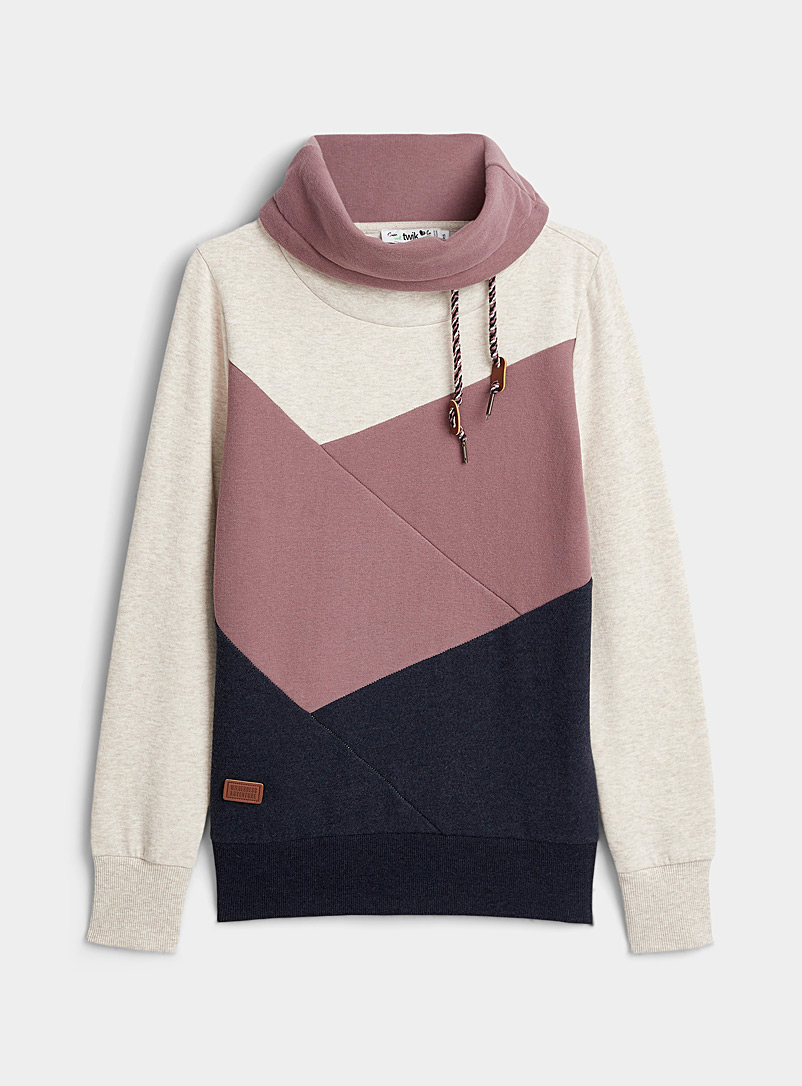 Twik Marine Blue Colour block tunnel-neck sweatshirt for women