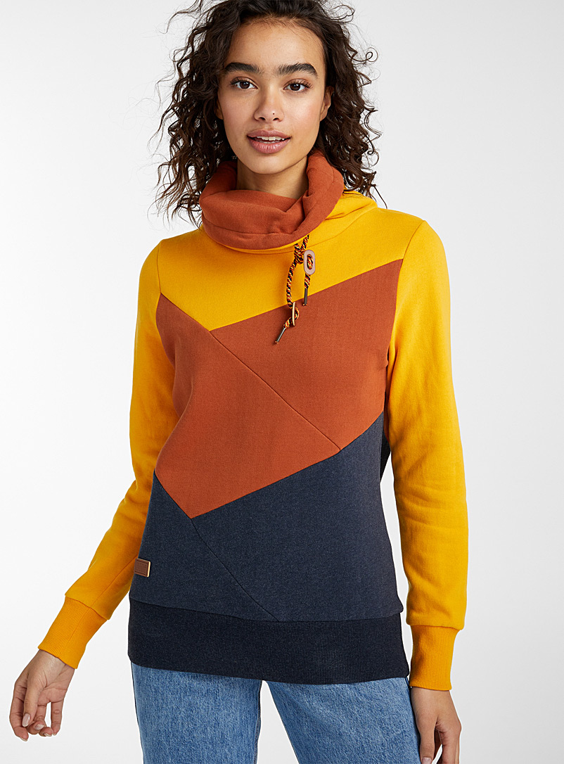 Twik Slate Blue Colour block tunnel-neck sweatshirt for women
