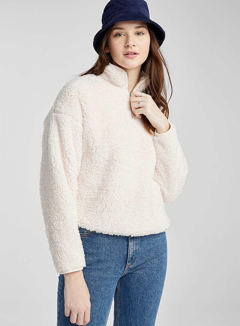 Twik Ivory White Plush half-zip loose sweatshirt for women