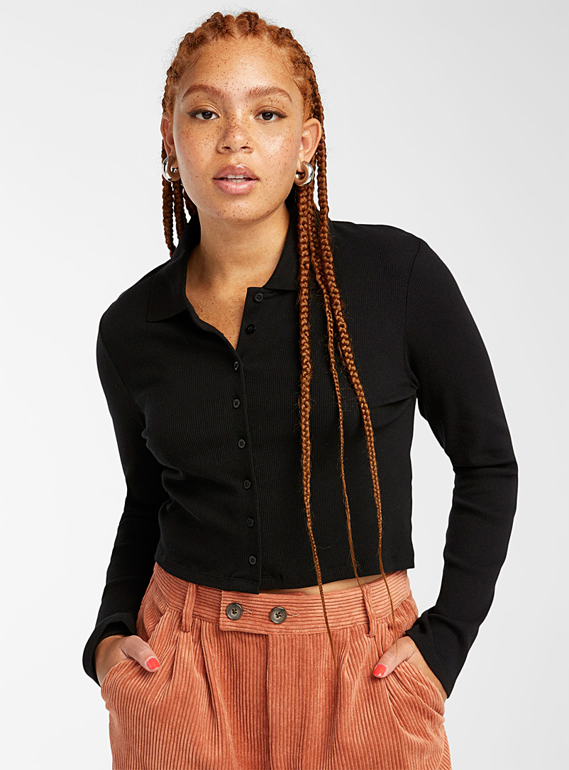 Twik Black Organic cotton cropped ribbed polo for women