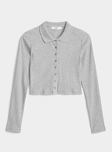 Twik Grey Organic cotton cropped ribbed polo for women