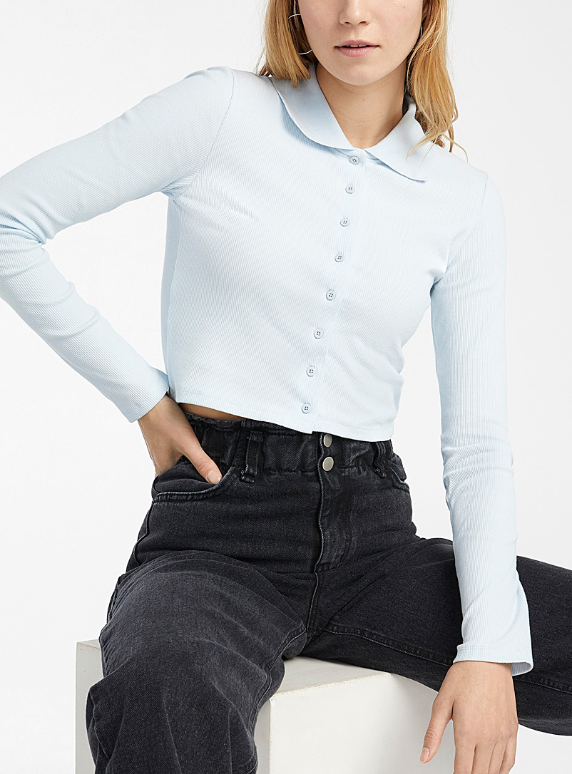 Twik Baby Blue Organic cotton cropped ribbed polo for women