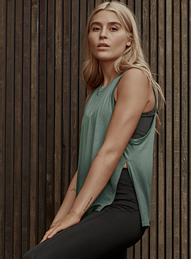 I.FIV5 Mossy Green Aurora loose tank for women